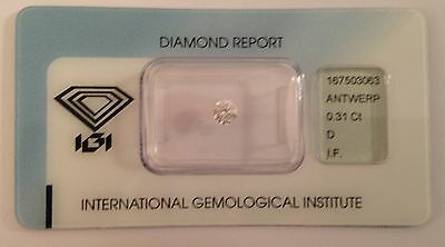 DIAMANTE CERTIFICATO IGI BLISTER 0.31 ct. D color, IF puro EX, EX, EX 0.30