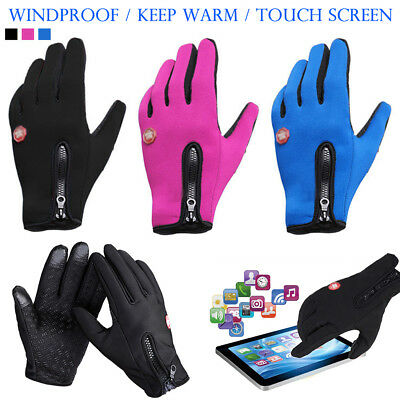 Mens Full Finger Gloves Touch Screen Warm Thermal Mittens Winter Cycling Driving