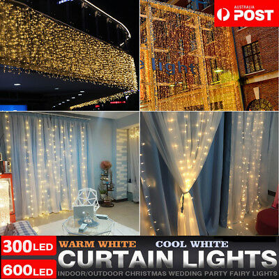 300/600/880 LED Curtain Fairy Lights Wedding Indoor Outdoor Wedding Garden Party