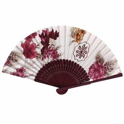 bamboo Frame Fabric Flower Pattern Party Dance Folding Hand Fan Red + White L7N6