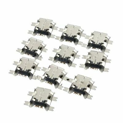 10x Micro-USB Type B Female 5Pin Socket 4 Legs SMT SMD Soldering Connector E7B7