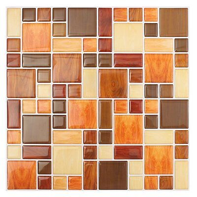 3D Tile Mosaic Pattern Wallpaper Modern Wall Background LivingRoom Kitchen N7O6