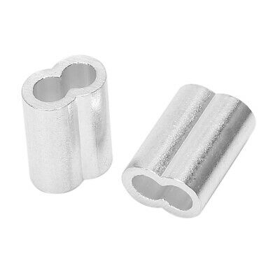"""Aluminum Swage Sleeve 3/16"""" Wire Rope Clamp Clip Silver Tone 20 Pcs X4L3"""