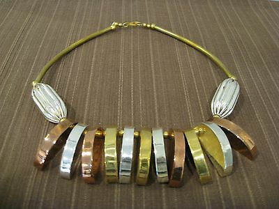 Three Color Metal Toned Necklace, Solid Brass On Copper And Silver Plated