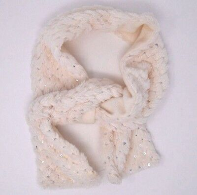 Capelli  Kids Girls Ivory Sequined Fur Scarf New Without Tags