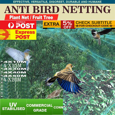 Commercial Fruit Tree Plant Knitted Anti Bird Netting Pest Net-10-50M Length OZ!