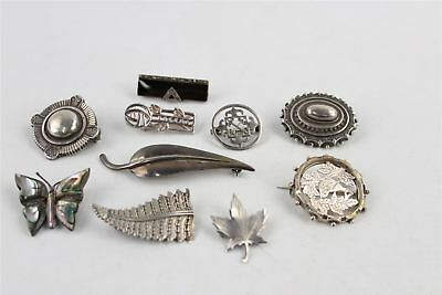 Collection of 10 x Vintage .925 STERLING SILVER Brooches Mixed Designs -54g