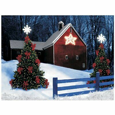 Canvas Wall Art Barn Rustic Led Light Up Christmas Tree Decor Home Gift GIFT NEW