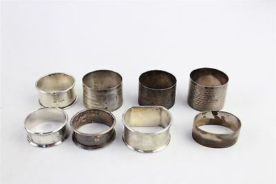 Lot of 8 x Vintage SOLID SILVER Napkin Rings MIXED Designs INC.CHESTER -173g