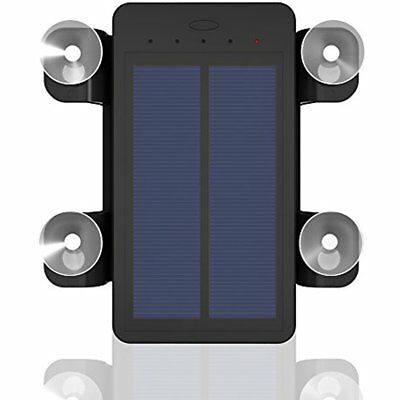 Dual Usb Portable Solar Battery Charger Power Bank 4000Mah Suction Cups Black