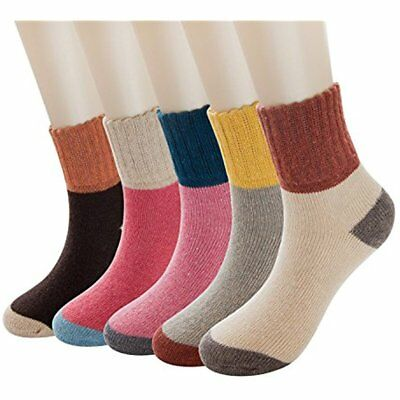 5 Pack Womens Thick Knit Warm Casual Wool Crew Winter Socks One Size Xmas GIFT