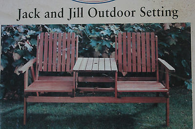 NEW Jack and Jill setting outdoor H/wood timber oiled finish 2 seater+table unit