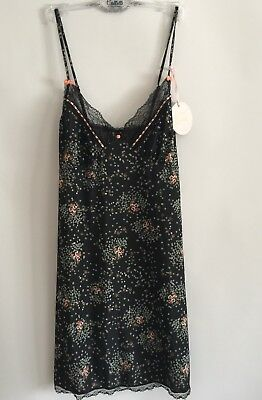 Wild Hearts By Collette Dinnigan Black Daisy Cluster Chemise Lingerie Sz 12 New