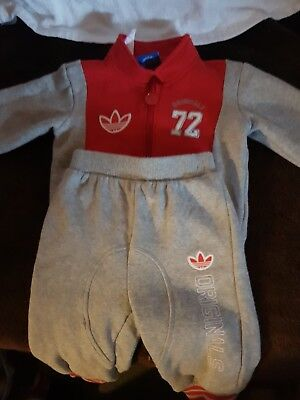 Adidas Original Baby Track Suit Set, Red & Grey, 6-9M