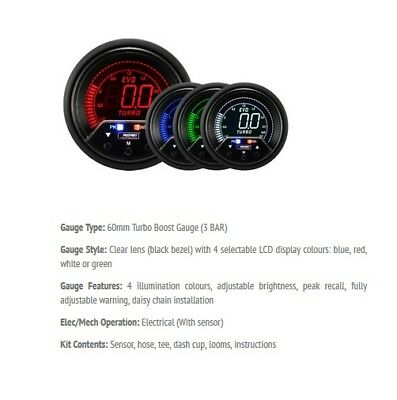 Fantastic Prosport Evo 60Mm Lcd 3 Bar Boost Gauge 4 Colour With Peak And Wiring 101 Akebwellnesstrialsorg