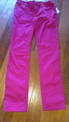 NEW Ralph Lauren Bowery Skinny Jeans girl's 10 pink pants green pony polo logo