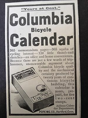 Antique 1896 Ad (1800-9)~Columbia Bicycle Calender Ad. Pope Mfg. Co. Hartford