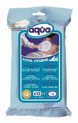 Cleanis Aqua Gloves for Waterless Bathing/Washing - No Soap or Drying (12 Pack)