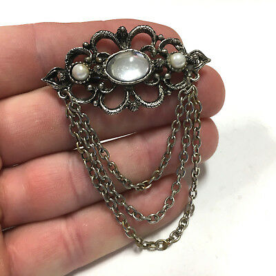 Vintage PEARL & Clear CABOCHON GOTHIC RENAISSANCE Style Brooch Pin W Chain L166c