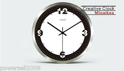 MN European Simplicity Rural Style Silver Metal+Glass Wall Decoration Wall Clock