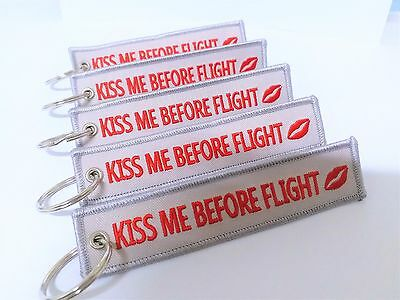 Kiss Me Before Flight Key Chain, Luggage Tag, Zipper Pull, Free Global Shipping