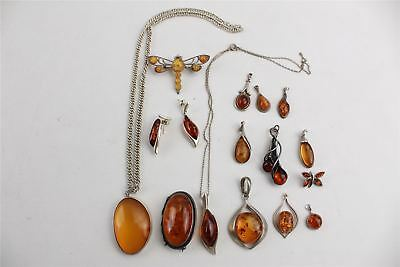 Lovely Collection of 925 Silver AMBER Jewellery inc Brooches etc