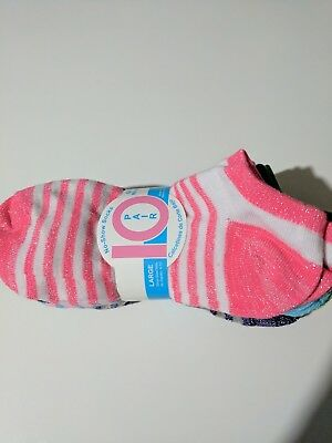 Girls 10 Pack No Show socks multi colored striped size L 4-10 NEW