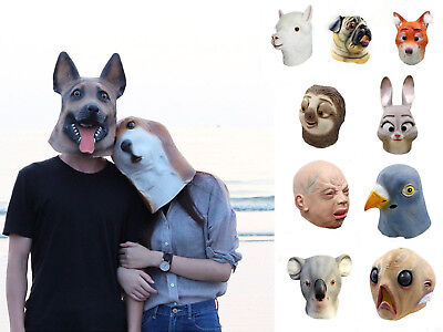 Latex Mask Mix  Head Creepy Animal Halloween Costume Theater Prop Party Toy