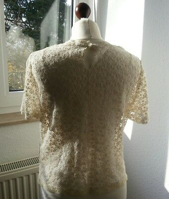 True vintage cream lace top Spitzenhemd 34 36 38 / S M