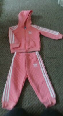 Girls adidas tracksuit age 6-9 months