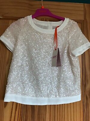 Ted Baker White seequin top age 11 Brand New With Tags.