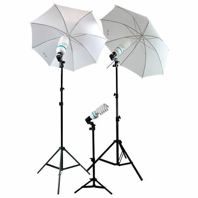 Lusana Studio Photography Lighting Kit 3 Point Lighting Umbrella Photo Bulb Lamp