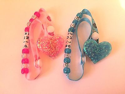 Sparkly Heart Dummy / Pacifier / Soother Clip ~ NEW ~ Pink or Blue ~ ANY NAME ~