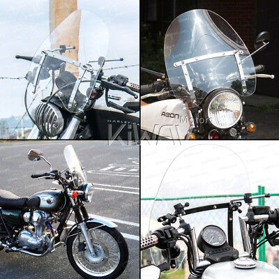 KiWAV clear windshield screen for Royal Enfield Bullet 500 C5 with Mounting kit