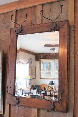 antique hat rack hall tree beveled mirror