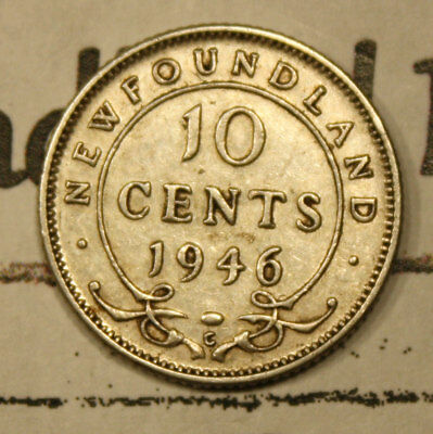 1946 NEWFOUNDLAND CANADA SILVER 10 CENT COIN lot NF503 - NICE COIN