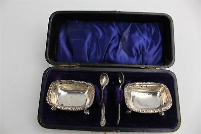 Lovely Collection of Birmingham Silver 1905 Pair of Cruets and Spoons