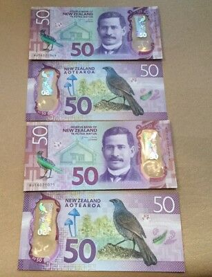 4 Sequental 50 New Zealnd Dollars Banknote Polymer Ngata Aotearoa UNC