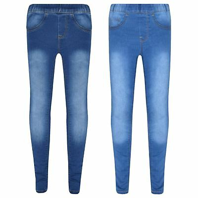 Kids Stretchy Jeans Girls Denim Jeggings Pants Trousers Leggings Age 5-13 Years
