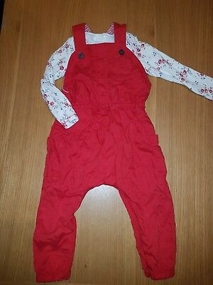 Next baby girls red dungerees and top set age 12-18 months