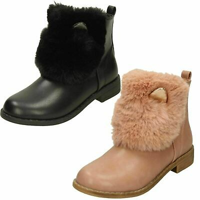 Girls Black Spot On Ankle Boots with Ears and Faux Fur UK Sizes 10 - 3 : H5R084