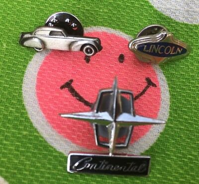 Lot of 3 Lincoln Continental Pins 30's 40's 60's Vintage Rare Hood Ornament Star