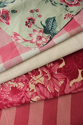 Vintage French fabrics antique material PROJECT BUNDLE IKAT Vichy floral
