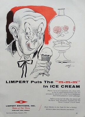 1961 Ad(H2)~Limpert Bros. Vineland, Nj. Ice Cream Flavor Masters