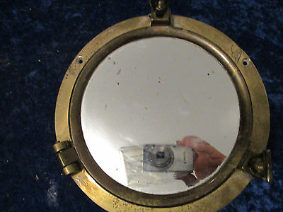 Brass Port Hole With Mirror---Steampunk-- Man Cave---Repurpose-Bar-Wall