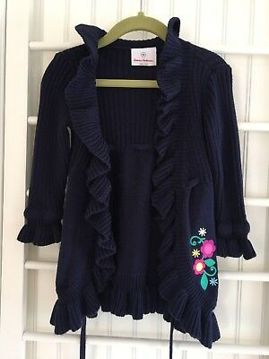 Hanna Andersson Toddler Girls Navy Tie Front Cardigan Sweater Size 90 3t