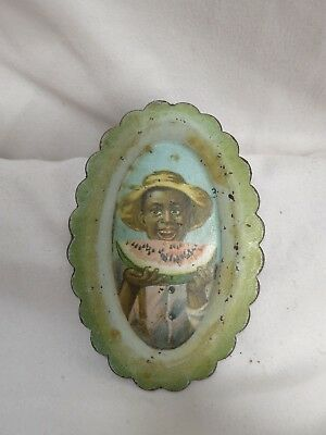 Vintage BLACK AMERICANA TIN ADVERTISING TIP TRAY Boy w/Watermelon
