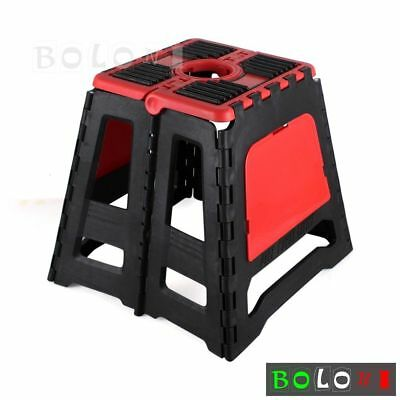 Auto Black & Red Folding Bikes Stands Step Stool Foldable Easy Storage Universal