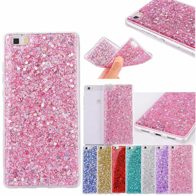 Bling Sparkle Slim Rubber Soft TPU Silicone Case Cover For P8 P9 Lite P10 Plus
