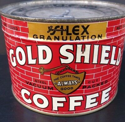 Vintage Full Unopened Key Wind Coffee Tin - Gold Shield Coffee-Seattle,wash.